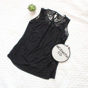 CAbi | Black Date Night Lace Sleeveless Blouse